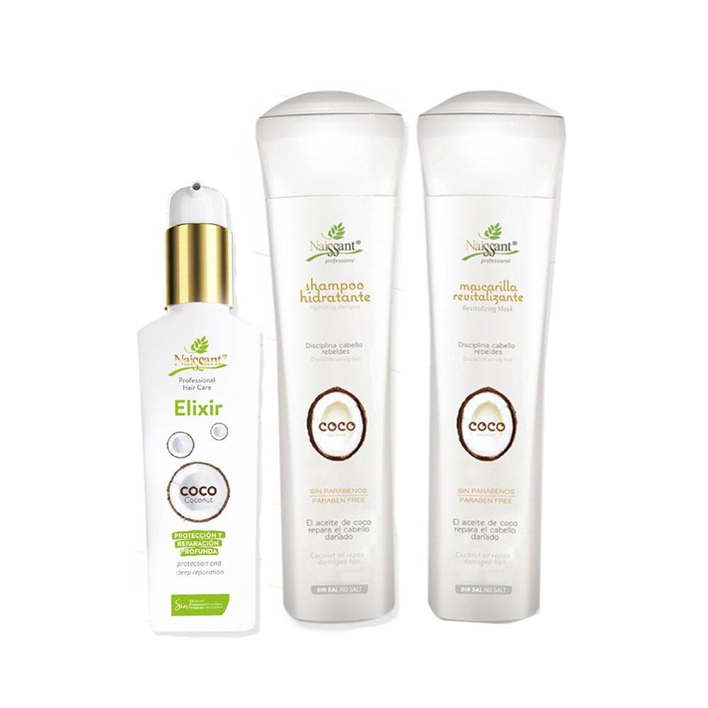 Coco Kit Shampoo Mascarilla Elixir Hidratante Naissant